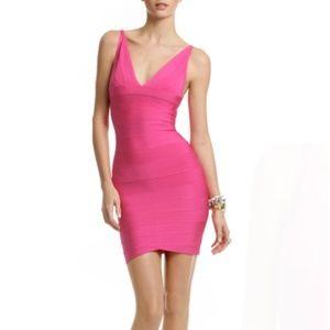 Herve Leger V Neck Bandage Dress - Pink